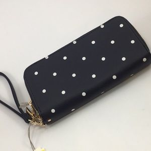 NWT Navy & Dots Double Compartments Wallet Clutch